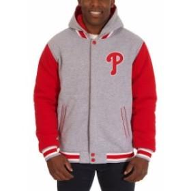 JH Design ジェイエイチ デザイン スポーツ用品  JH Design Philadelphia Phillies Gray Reversible Fleece Full Snap H