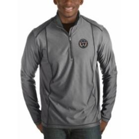 Antigua アンティグア スポーツ用品  Antigua Philadelphia Union Heather Black Fortune Quarter-Zip Pullover Jacket