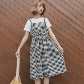 ウエストリボンが可愛い ギンガムチェックサロペットスカート0275