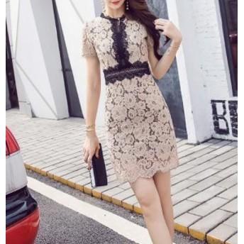 総レース ワンピース 春 夏 半袖 ミニ丈 ホワイト 白 ベージュ グリーン パーティドレス お呼ばれ フェミニン きれいめ 韓国ドレス