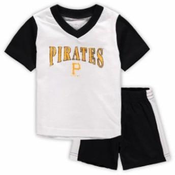 Outerstuff アウタースタッフ スポーツ用品 Pittsburgh Pirates Infant White/Black Little Hitter V-Neck T-Shirt & Sho