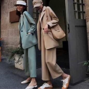 韓國 スーツ パンツスーツ セットアップ 通勤 ビジネス オフィス レディース ファッション 大きいサイズ オルチャン c101