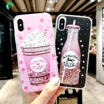 iPhone ケース カバー スマホカバー アイフォン ソフトカバー iPhone 6 7 8 X XS XR キラキラ かわいい ストロー 韓国 ラメ ピンク