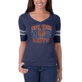 47 フォーティーセブン スポーツ用品  47 New York Mets Womens Blue Flanker Striped Half-Sleeve Tee