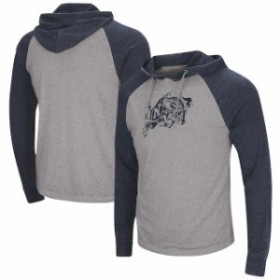 Colosseum コロセウム スポーツ用品  Colosseum Navy Midshipmen Gray/Navy Personal Flair Tri-Blend Thermal Hooded Long S