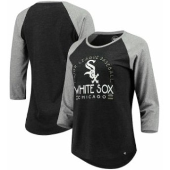 47 フォーティーセブン スポーツ用品 47 Chicago White Sox Womens Heathered Black Club 3/4-Sleeve Raglan T-Shirt