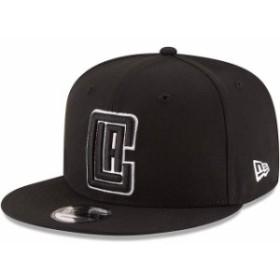 New Era ニュー エラ スポーツ用品  New Era LA Clippers Black Black & White Logo 9FIFTY Adjustable Snapback Hat