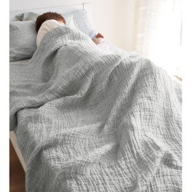 ハーフ(French Linen/フレンチ リネン 100% ふわふわ二重ガーゼケット)グレー