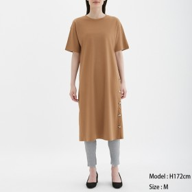 (GU)ボタンTワンピース(5分袖) BROWN L