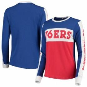 Junk Food ジャンク フード スポーツ用品  Junk Food Philadelphia 76ers Womens Red/Royal Color Blocked Long Sleeve T-S