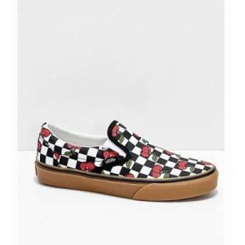 ヴァンズ スリッポン・フラット Slip-On Cherry Black & Gum Checkered Skate Shoes Assorted
