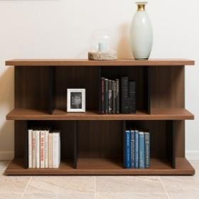 本棚 ウッドシェルフ モダンデザイン ロータイプ TAU-SHELF 幅120cm ( 送料無料 書棚 収納棚 オープンラック 多目的ラック シェルフ デ