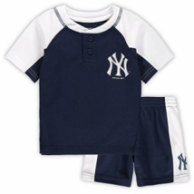 Outerstuff アウタースタッフ スポーツ用品  New York Yankees Infant Navy/White Play Strong Henley T-Shirt & Shorts S