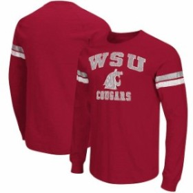 Colosseum コロセウム スポーツ用品  Colosseum Washington State Cougars Crimson Huddle Up II Striped Long Sleeve T-Shir
