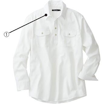 50%OFF【メンズ】 綿100%ピケ素材のプルオーバーシャツ(長袖) シンプル仕上げのトレンドアイテム。 - セシール ■カラー:ホワイト ■サイズ:3L,L,M,LL