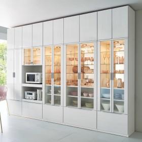 Garelli/ガレリ キッチン壁面収納シリーズ 板戸キャビネット 幅60cmホワイト・モクメ