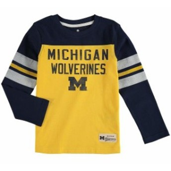 Outerstuff アウタースタッフ スポーツ用品 Michigan Wolverines Preschool Navy Legacy Long-Sleeve Football T-Shirt