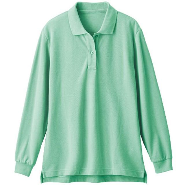 【レディース】 UVカットポロシャツ(長袖)(S-5L) - セシール ■カラー:ミントグリーン ■サイズ:M,4L-5L,S,LL,3L