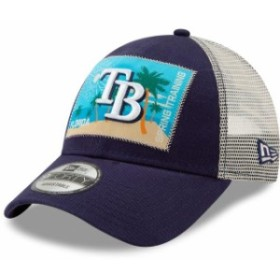 New Era ニュー エラ スポーツ用品  New Era Tampa Bay Rays Navy/White Patched Trucker 3 9FORTY Adjustable Snapback Hat
