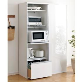 全部隠せる スライド棚付きキッチン家電収納庫 ハイタイプホワイト