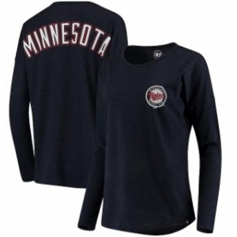 47 フォーティーセブン スポーツ用品 47 Minnesota Twins Womens Navy Courtside Long Sleeve T-Shirt