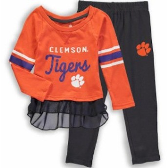 Outerstuff アウタースタッフ スポーツ用品 Clemson Tigers Girls Toddler Orange/Charcoal Mini Formation Long Sleeve