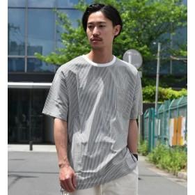 【シップス/SHIPS】 SU:【EVALET】 クルーネック プルオーバー ストライプ シャツ