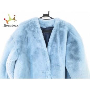 ジーナシス JEANASIS コート サイズF レディース 美品 ライトブルー 冬物/フェイクファー 新着 20190518