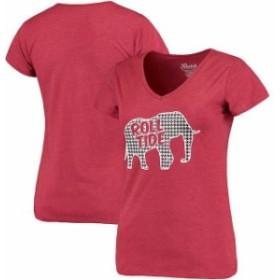 Klutch クラッチ スポーツ用品  Alabama Crimson Tide Womens Houndstooth Heathered V-Neck T-Shirt