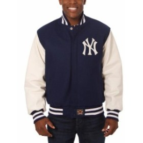 JH Design ジェイエイチ デザイン スポーツ用品  JH Design New York Yankees Navy/White Two-Tone Wool & Leather Jack