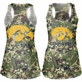 Blue 84 ブルー エイティーフォー スポーツ用品 Iowa Hawkeyes Womens Camo Cover-Up Burnout Tank Top