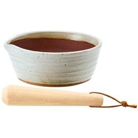 万古焼の溝のないすり鉢とすりこ木 約直径21cmホワイト
