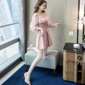 ワンピース ドレス 韓国ファッション オフショル 長袖 花柄 ミニ丈 デート お呼ばれ お出かけ オシャレ セクシー レディース お買い物