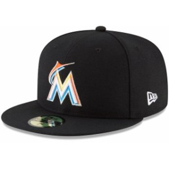 New Era ニュー エラ スポーツ用品 New Era Miami Marlins Black Home Authentic Collection On-Field 59FIFTY Fitted Hat