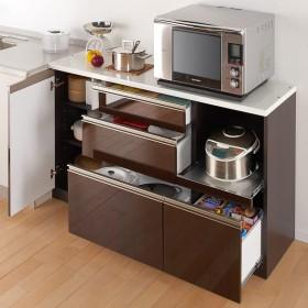 高機能 モダンシックキッチン キッチンカウンター 幅140奥行45高さ85cmダークブラウン