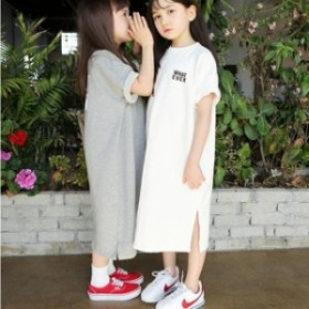 ロングワンピース 半袖 Aラインワンピース 綿 シンプル ベビー キッズ 親子お揃い 韓国 子ども服 ジュニア