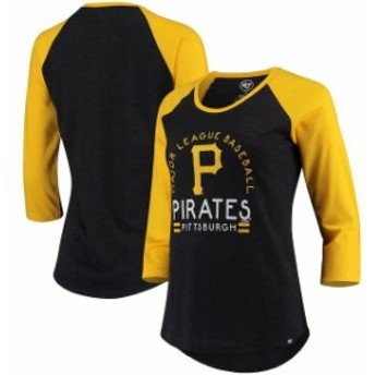 47 フォーティーセブン スポーツ用品 47 Pittsburgh Pirates Womens Heathered Black Club 3/4-Sleeve Raglan T-Shirt