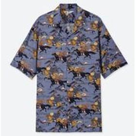 北斎ブルーオープンカラープリントシャツ(半袖)