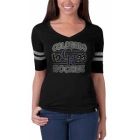 47 フォーティーセブン スポーツ用品  47 Colorado Rockies Womens Black Flanker Striped Half-Sleeve Tee