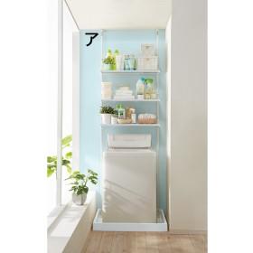 防水パンにおさまる。省スペース洗濯機ラック 標準タイプ・棚3段ホワイト