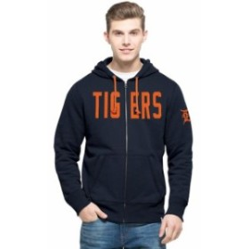 47 フォーティーセブン スポーツ用品  47 Detroit Tigers Navy Cross Check Full-Zip Hoodie