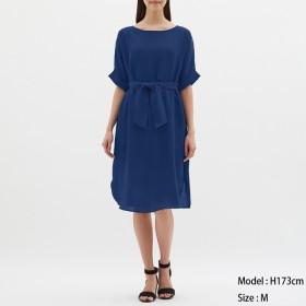(GU)ロールアップスリーブワンピース(5分袖) BLUE S