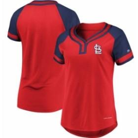 Majestic マジェスティック スポーツ用品  Majestic St. Louis Cardinals Womens Red League Diva Raglan Placket T-Shirt