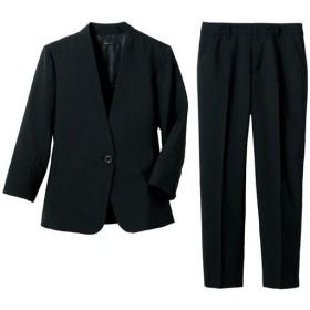 30%OFF【レディース】 洗えるパンツスーツ - セシール ■カラー:ブラック ■サイズ:13号,11号,15号,7号,9号,5号(プチサイズ)