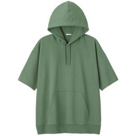 (GU)スーパービッグプルパーカ(5分袖) GREEN XL