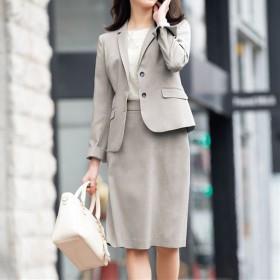 【レディース】 スカートスーツ(洗濯機OK・形態安定) - セシール ■カラー:ライトグレー ■サイズ:7AR61,13ABR76,9AR64,13AR70,11AR67,17ABR84,21ABR92,15ABR80,19ABR88