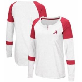 Colosseum コロセウム スポーツ用品  Colosseum Alabama Crimson Tide Womens White Dorothy Henley Raglan Long Sleeve T-Sh