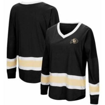 Colosseum コロセウム スポーツ用品 Colosseum Colorado Buffaloes Womens Black Marquee Players Oversized Long Sleeve V-