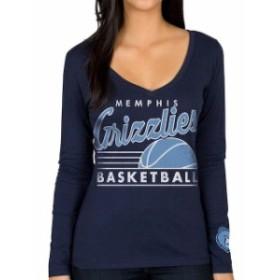 Junk Food ジャンク フード スポーツ用品  Memphis Grizzlies Womens Navy Blue Fall V-Neck Long Sleeve T-Shirt