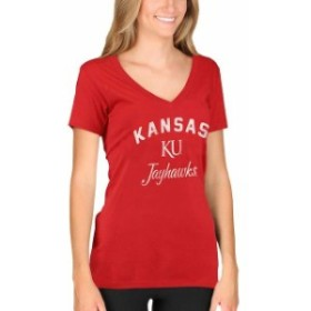 New Agenda ニュー アジェンダ スポーツ用品  New Agenda Kansas Jayhawks Womens Red Fanciful V-Neck T-Shirt